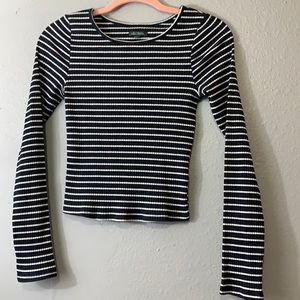 Wild Fable Blue/White Striped Long Sleeve crop XS